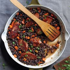 Make this quick weeknight meal in 40 minutes using canned black beans and smoked sausage, such as Polish kielbasa.