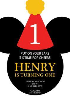 Mickey Mouse Party Hat Birthday Invitation - Custom DIY Printable. $12.00, via Etsy.