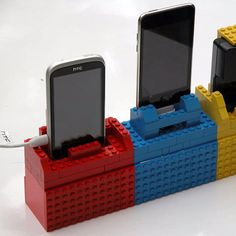 Colourful lego blocks can be shaped into a handy cellphone charger station
