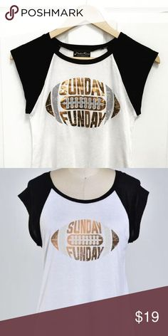 🏈Sunday Funday football tee Short sleeve black and white tee with gold foil print. Polyester. Tops Tees - Short Sleeve