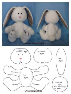 17 Rabbit Molds for Easter Crafts - Watch Now! - 17 Bunny Crafts for Easter Crafts – Watch Now ! Sewing Stuffed Animals, Stuffed Animal Patterns, Animal Sewing Patterns, Doll Patterns, Bunny Crafts, Easter Crafts, Sewing Crafts, Sewing Projects, Teddy Bear Sewing Pattern