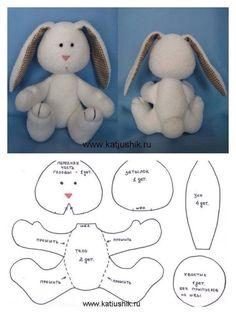Conejo con  Moldes #rabbit #costura #patrones #moldes
