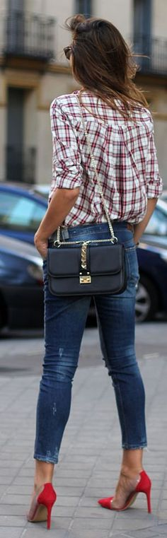 Cute outfit!  Plaid shirt skinny jeans and red heels Women's fall fashion clothing outfit for shopping lunch with friends movie
