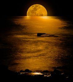 """Moonlight of Gold"" ~ Rising moon over the ocean, golden waves hitting the rocks ~ Tasman Sea, Central Coast, Australia.  Photo by Pete 'Bobesh on flickr.com"