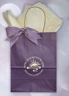 #weddingwelcomebags -This deep purple kraft bag is rich in color. Printed in ivory ink, our Siena design is impressive, unique and eye-catching. Your out-of-town guests will really appreciate your effort in making their arrival welcoming. No expensive mini-bar for them. Fill these sturdy #guestgiftbags with 2 bottles of water, 2 oranges, microwave popcorn, mints, hand sanitizer, trail mix & itineraries. That's one way to put people in a party mood! Click www.favorsyoukeep.com