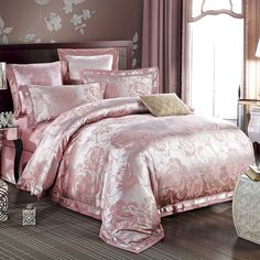 Fancy Hot Pink and Gold Glitter Rococo Pattern Victorian Style Noble Excellence Luxury Jacquard Satin Full, Queen Size Sets Gold Comforter Set, Pink Bedding Set, King Size Comforter Sets, King Size Sheets, Cotton Bedding Sets, Queen Size Bedding, Sequin Bedding, Silver Bedding, Lace Bedding