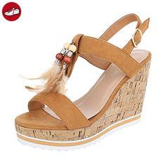 Angkorly Damen Schuhe Sandalen Mule - Plateauschuhe - Linien - Spitze - String Tanga Keilabsatz High Heel 8 cm - Beige YS430 T 38 4o4u0