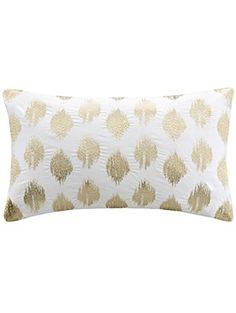 INK+IVY Nadia Dot Metallic Embroidery Oblong Pillow, Gold ❤ JLA Home