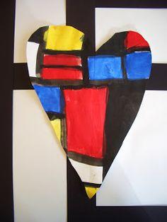 Mondrian Hearts - DREAM DRAW CREATE Art Lessons for Children