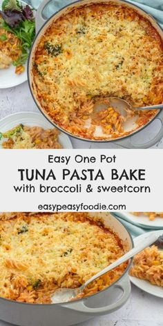 Easy One Pot Tuna Pasta Bake with Broccoli and Sweetcorn - Stuck in a rut with midweek meals? Add this quick and easy One Pot Tuna Pasta Bake with Broccoli an - Baked Pasta Recipes, Seafood Recipes, Dinner Recipes, Canned Tuna Recipes, Shellfish Recipes, Easy Cooking, Cooking Recipes, Healthy Recipes, Healthy Food