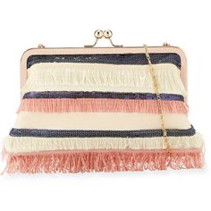 Neiman Marcus Multi-Fringe Sequin Clutch Bag ($65) ❤ liked on Polyvore featuring bags, handbags, clutches, pink, pink purse, fringe clutches, kiss-lock handbags, pink sequin purse and colorful handbags