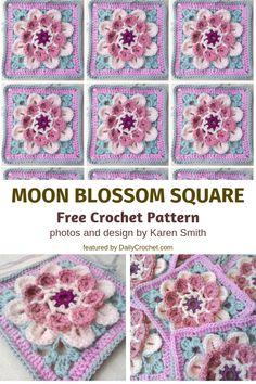 Free Crochet Patterns: Cutest Flower Crochet Afghan Square Ever! Hexagon Crochet Pattern, Crochet Flower Squares, Crochet Poppy, Crochet Squares Afghan, Crochet Flower Patterns, Afghan Crochet Patterns, Crochet Motif, Crochet Flowers, Crochet Stitches