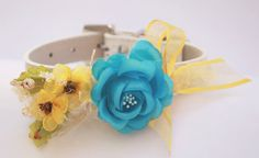 Blue and Yellow Wedding dog collar,  Cute floral dog collar, Custom Dog Collar