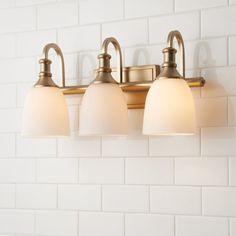 Modern Progression Vanity Light - 3 Light - Shades of Light Modern White Bathroom, Modern Bathroom Decor, Bathroom Interior Design, Modern Decor, Bathroom Ideas, Bathroom Organization, Bathroom Storage, Bathroom Cleaning, Bathroom Light Fixtures