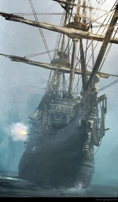 Ghost Ship - without sails hoisted, there be ghost winds moving her! But she be a real pirate ship, cuz she be a-firing her cannons from starboard. Prepare fer battle, me buckos!