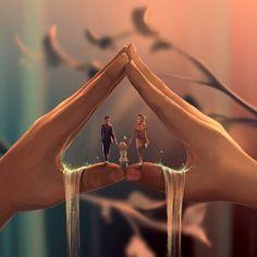 Ciryl Rolando is a digital art painter as hobby. He live in France, is a psychologist. He like the universe of Tim Burton and Hayoa Miyazaki. Tim Burton, Cyril Rolando, Most Beautiful Words, Hayao Miyazaki, New Journey, Surreal Art, Love Art, Digital Illustration, Family Illustration