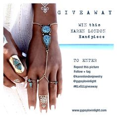 It's GIVEAWAY time!  I've paired up with the divine @karenlondonjewelry and we are gifting one lucky person this amazing turquoise Apache handpiece  To enter 1. repost this photo on your Instagram 2. Follow + tag @karenlondonjewelry @gypsylovinlight in the comment 3. Hashtag #KLxGLLgiveaway  Further details can be found on my blog www.gypsylovinlight.com  Good luck lovelies! I wish I had one for all of you. Much love + gratitude   @bobbybense