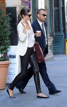 Miranda Kerr Street Style I really want leather leggings