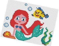 ARIEL  Cross stitch Pattern PDF  Princess cross di POWSTITCH