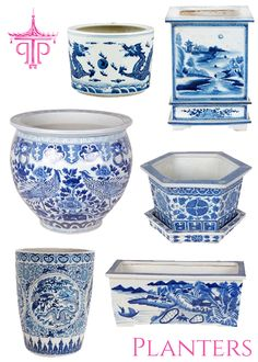 Chinoiserie Chic: - The Top Ten Chinoiserie Trends for 2014 .you can get a lot of this stuff at Ross' on the right day. Blue And White China, Blue China, Love Blue, Delft, Art Chinois, White Planters, Large Planters, Chinoiserie Chic, Chinoiserie Wallpaper