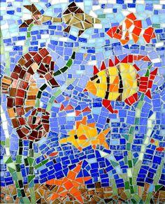 Title  Fish And Seahorse Mosaic   Artist  Lou Ann Bagnall   Medium  Photograph - Photo Of A Mosaic
