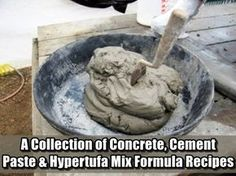 A Collection Of Concrete, Cement Paste & Hypetufa Mix formula Recipes. Here are a variety of formulas that are intended for use in arts & crafts. Cement Art, Concrete Cement, Concrete Crafts, Concrete Garden, Concrete Projects, Concrete Planters, Concrete Casting, Types Of Concrete, Concrete Sculpture