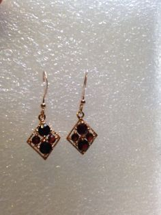 Vintage Bohemian Garnet 92.5% Sterling Silver Rose Gold Earrings