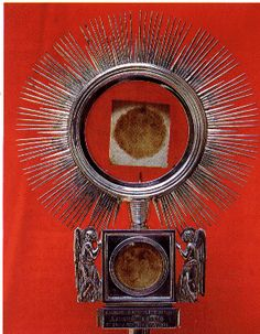 Cascia, Italy, Minor Basilica,1300's ~ the Eucharistic Miracle & remains of Blessed Simone Fidati. A certain priest had lost his respect for the Eucharist, and when going on a call to administer the Holy Sacraments to an ailing peasant, took a Consecrated Host & placed it irreverently between the pages of his breviary. When he opened the book, he saw that the Host had turned red with fresh blood & was impregnated with the two pages between which it had been placed. The priest sought out for…