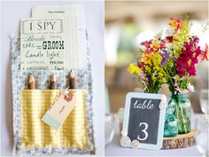 wedding activity for kids, I Spy wedding games, blue painted frame chalkboard table numbers, wildflowers in blue mason jar centerpieces, rustic handmade wedding, Katelyn James Photography