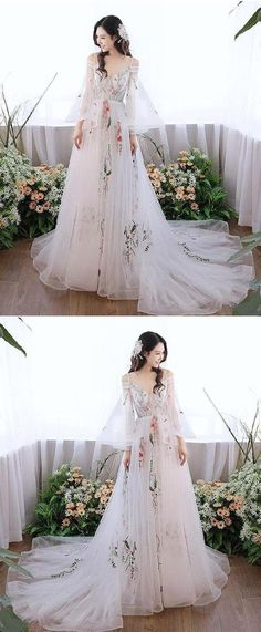 Hot Sale Cute Lace Prom Dresses, White V Neck Tulle Lace Applique Long Prom Dress, White Evening Dress Sequin Prom Dresses, High Low Prom Dresses, Prom Dresses Long With Sleeves, Long Prom Gowns, Tulle Prom Dress, Mermaid Prom Dresses, Dress Long, Diy Dress, Dress Ideas