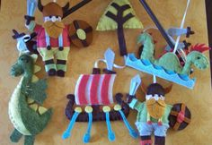 """Baby Mobile - Baby Crib Mobile - Viking  Mobile - Nursery Baby Room """"Vikings Ahoy"""" (You can pick your colors) by lollipopmoon on Etsy"""