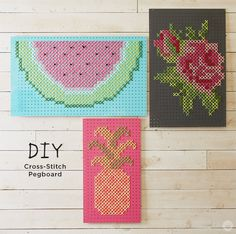 Hallmark Designer Kim C. hosted a workshop creating large scale cross-stitch pegboards. (A blog from the Creative Studios at Hallmark.)