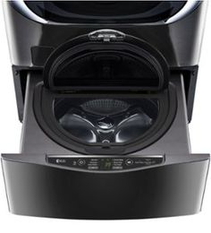 High-Efficiency Pedestal Washer Black stainless steel at Best Buy. Stainless Steel Drum, Bottom Freezer Refrigerator, Front Load Washer, Small Laundry, Pedestal, Washer And Dryer, Cool Things To Buy, Dryers, Washers