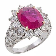 Preowned Fantastic Diamond, Burma Ruby, Platinum Ring ($55,000) ❤ liked on Polyvore featuring jewelry, rings, multiple, pre owned rings, ruby diamond ring, ruby ring, platinum diamond ring and cushion cut ruby ring