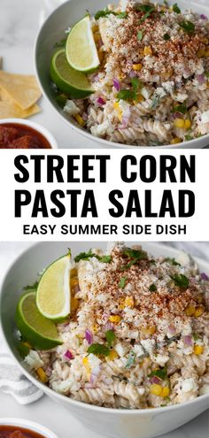 This easy Mexican Street Corn Pasta salad recipe is the best summer side dish to bring to a BBQ or party. It's packed with sweet corn kernels and dressed in a creamy sour cream and mayo based dressing with a hint of chili and a splash of lime. Can easily be made ahead of time. Side Dishes For Bbq, Summer Side Dishes, Healthy Side Dishes, Vegan Dishes, Vegan Meals, Corn Pasta Salad Recipe, Easy Pasta Salad, Salad Dishes, Salads