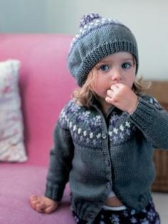 Lemon - Knit this child's fairisle cardigan and beret from the Baby Merino Silk DK Mini Collection, a design by Martin Storey from the Rowan archive...