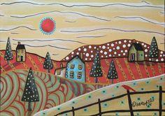 Red Sun 5x7inch ORIGINAL Canvas Panel PAINTING FOLK ART landscape Karla G #FolkArtAbstractPrimitive