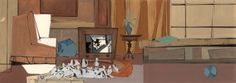 Shown above is a small sampling of Peregoy's highly stylized color keys for Walt Disney's 101 Dalmatians Gorgeous stuff. California College Of Arts, Animation Background, 101 Dalmatians, Environmental Art, Disney Animation, Vintage Disney, Disney Love, American Artists, Concept Art