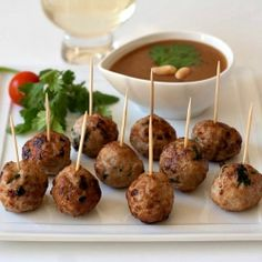 How to make Thai inspired Pork Meatballs with Peanut Sauce.