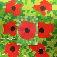 mosaic inspired paper chipped poppies for Anzac Day
