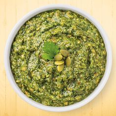 Hatch Chile, Cilantro & Pumpkin Seed Pesto. This would be amazing mixed with chickpeas or other beans, as a dip for vegetables, rubbed all over grilled corn..can't wait for Hatch season to begin!
