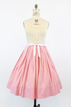 50s Skirt Cotton Medium / 1950s Vintage Pink Plaid by CrushVintage