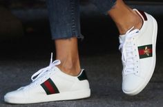 """gucci sneakers, can be bought on bloomingdales. Alessandra goes for the low-key bee embroidery on her Gucci """"Ace"""" sneakers Gucci Ace Sneakers, Moda Sneakers, Sneakers Mode, Sneakers Fashion, Fashion Shoes, Cheap Sneakers, Womens Trainers Fashion, Hypebeast Sneakers, Superga Sneakers"""