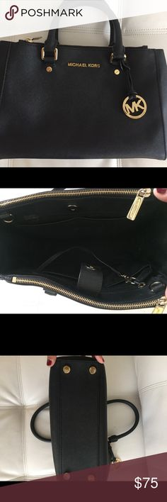 Black Michael Kors top handle bag Beautiful, only used a couple time, Michael Kors leather bag. Great condition! Make me an offer! Bags Totes