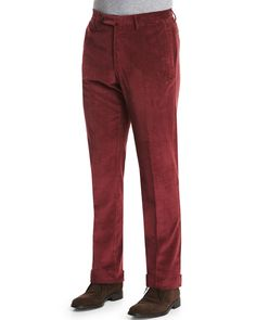 Wide-Whale Corduroy Trousers, Burgundy (Red), Men's, Size: 40 - Incotex