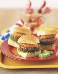 sweet hawaiian sliders - mini burgers with grilled pineapple