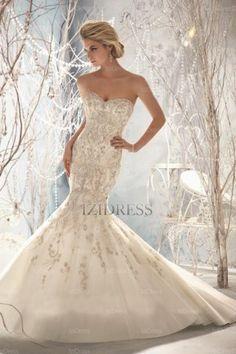 Trumpet/Mermaid Strapless Court Train Tulle wedding dress - IZIDRESSES.com at IZIDRESSES.com
