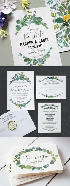 Watercolor foliage wedding invitations || Bella Collina Weddings