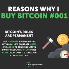 Bitcoins 21 Million cap is a permanent rule that is also public. Bitcoin Wallet, Buy Bitcoin, World Government, Yesterday And Today, Crypto Currencies, Blockchain, Cryptocurrency, You Got This, Investing