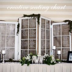 old window frames custom seating chart by handmadebetty on Etsy, $60.00